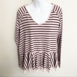 Free People Pink Stripped Peplum Long Sleeve Top
